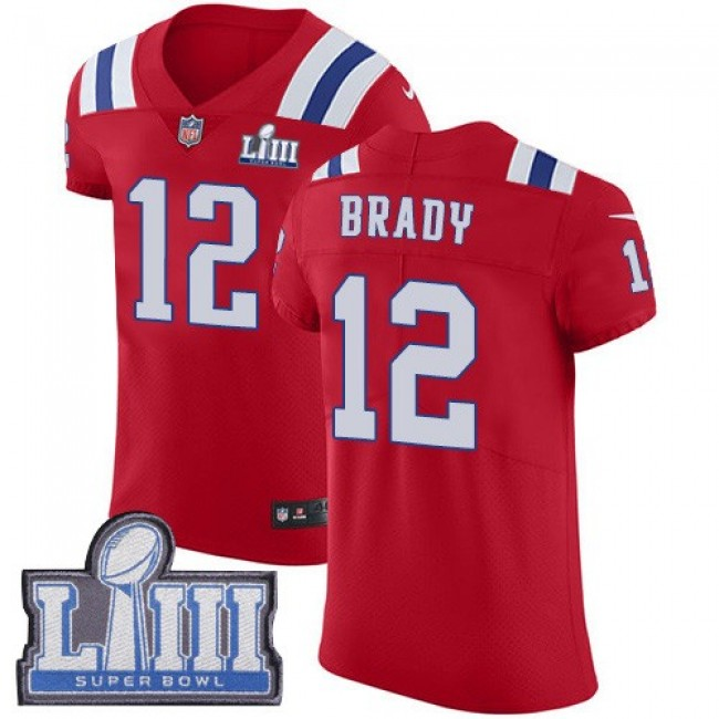 Nike Patriots #12 Tom Brady Red Alternate Super Bowl LIII Bound Men's Stitched NFL Vapor Untouchable Elite Jersey