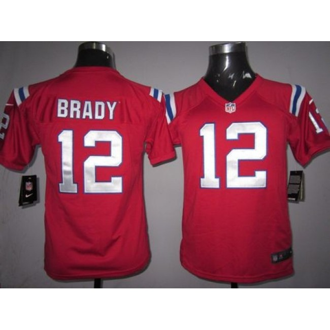 New England Patriots #12 Tom Brady Red Alternate Youth Stitched NFL Elite Jersey