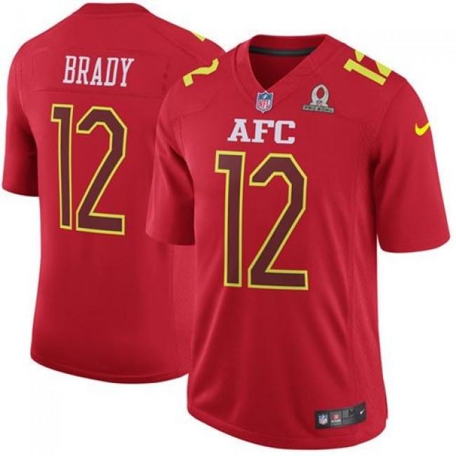Nike Patriots #12 Tom Brady Red Men's Stitched NFL Game AFC 2017 Pro Bowl Jersey