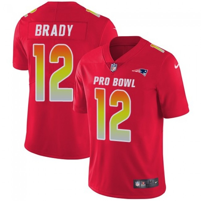 Nike Patriots #12 Tom Brady Red Men's Stitched NFL Limited AFC 2018 Pro Bowl Jersey