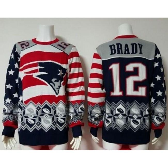 Nike Patriots #12 Tom Brady Red/Navy Blue Men's Ugly Sweater