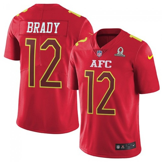 New England Patriots #12 Tom Brady Red Youth Stitched NFL Limited AFC 2017 Pro Bowl Jersey