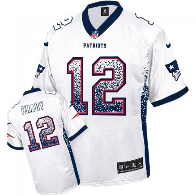 Nike Patriots #12 Tom Brady White Men's Stitched NFL Elite Drift Fashion Jersey