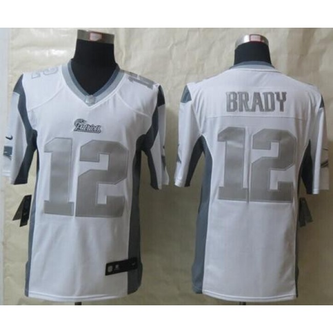 Nike Patriots #12 Tom Brady White Men's Stitched NFL Limited Platinum Jersey