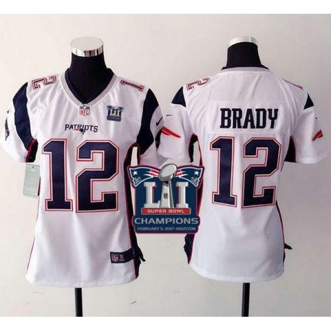 Women's Patriots #12 Tom Brady White Super Bowl LI Champions Stitched NFL New Elite Jersey