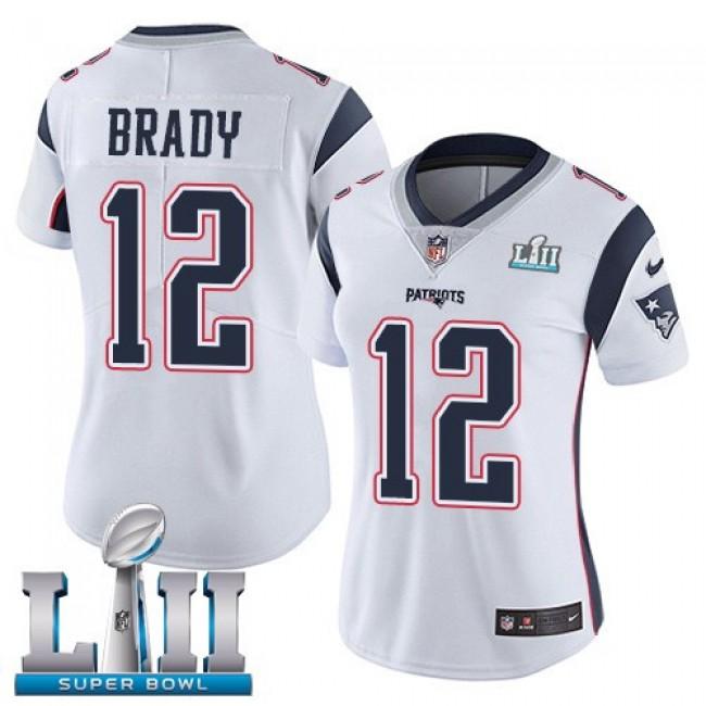 Women's Patriots #12 Tom Brady White Super Bowl LII Stitched NFL Vapor Untouchable Limited Jersey
