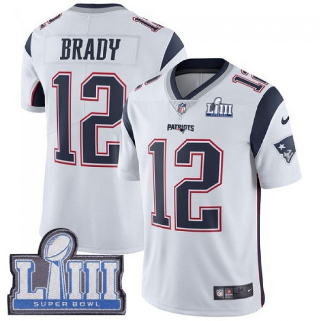 Nike Patriots #12 Tom Brady White Super Bowl LIII Bound Men's Stitched NFL Vapor Untouchable Limited Jersey
