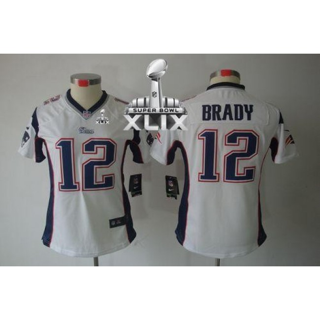 Women's Patriots #12 Tom Brady White Super Bowl XLIX Stitched NFL Limited Jersey