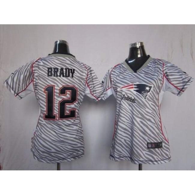 Women's Patriots #12 Tom Brady Zebra Stitched NFL Elite Jersey