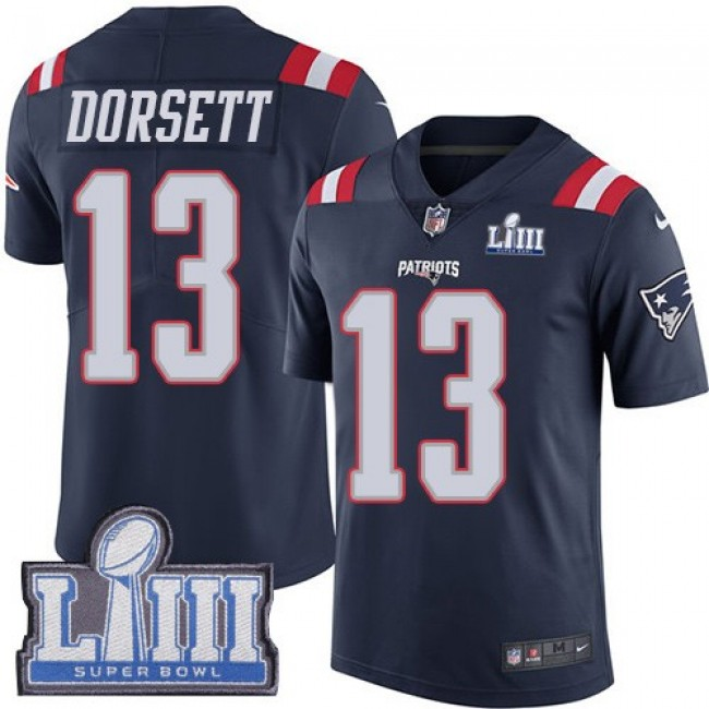 Nike Patriots #13 Phillip Dorsett Navy Blue Super Bowl LIII Bound Men's Stitched NFL Limited Rush Jersey