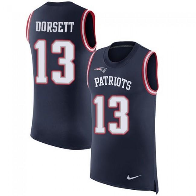Nike Patriots #13 Phillip Dorsett Navy Blue Team Color Men's Stitched NFL Limited Rush Tank Top Jersey