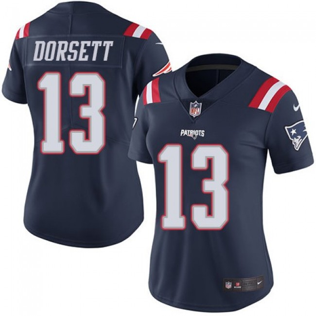 Women's Patriots #13 Phillip Dorsett Navy Blue Stitched NFL Limited Rush Jersey