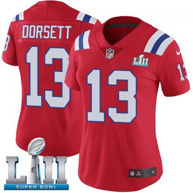 Women's Patriots #13 Phillip Dorsett Red Alternate Super Bowl LII Stitched NFL Vapor Untouchable Limited Jersey