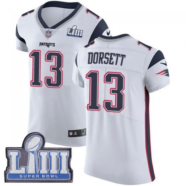 Nike Patriots #13 Phillip Dorsett White Super Bowl LIII Bound Men's Stitched NFL Vapor Untouchable Elite Jersey