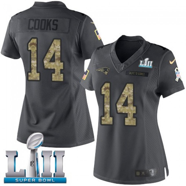 Women's Patriots #14 Brandin Cooks Black Super Bowl LII Stitched NFL Limited 2016 Salute to Service Jersey