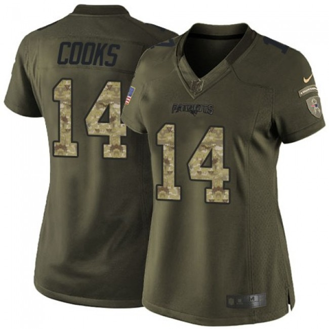 Women's Patriots #14 Brandin Cooks Green Stitched NFL Limited 2015 Salute to Service Jersey