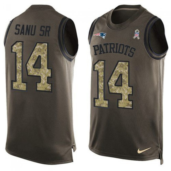 Nike Patriots #14 Mohamed Sanu Sr Green Men's Stitched NFL Limited Salute To Service Tank Top Jersey