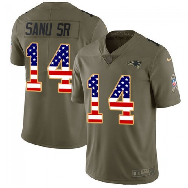 Nike Patriots #14 Mohamed Sanu Sr Olive/USA Flag Men's Stitched NFL Limited 2017 Salute To Service Jersey