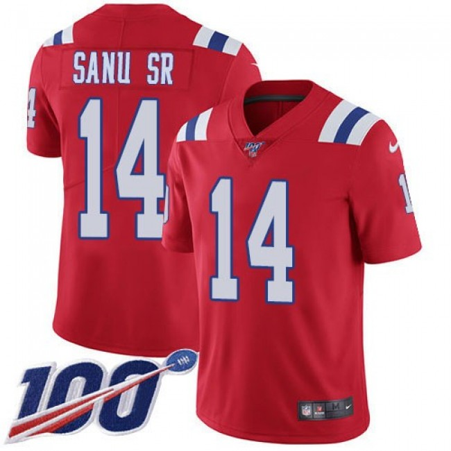 Nike Patriots #14 Mohamed Sanu Sr Red Alternate Men's Stitched NFL 100th Season Vapor Limited Jersey
