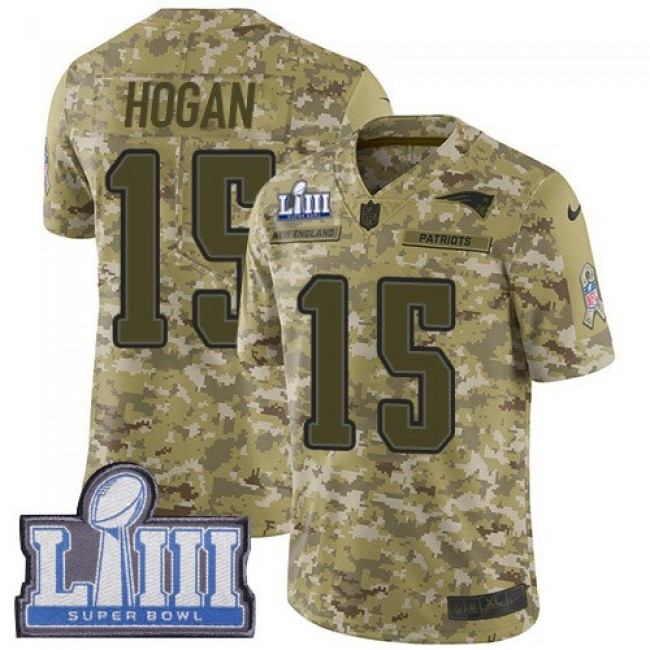 Nike Patriots #15 Chris Hogan Camo Super Bowl LIII Bound Men's Stitched NFL Limited 2018 Salute To Service Jersey