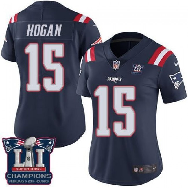 Women's Patriots #15 Chris Hogan Navy Blue Super Bowl LI Champions Stitched NFL Limited Rush Jersey