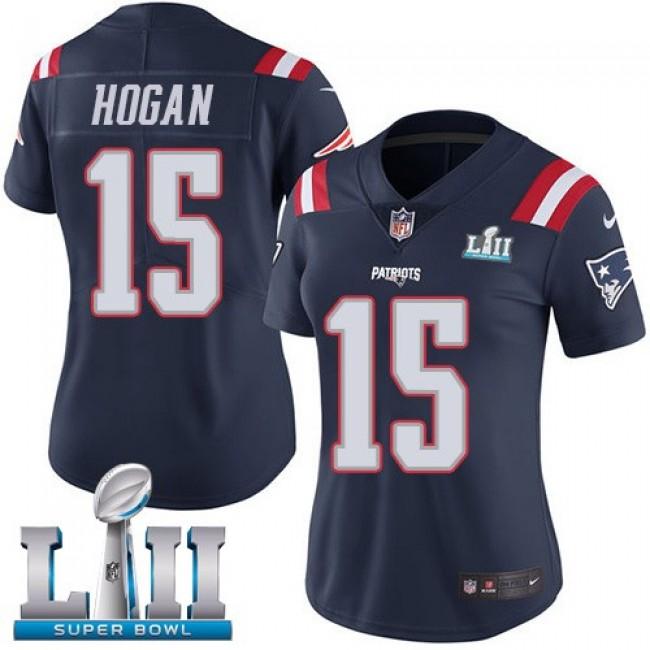 Women's Patriots #15 Chris Hogan Navy Blue Super Bowl LII Stitched NFL Limited Rush Jersey