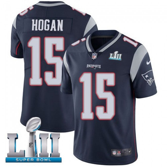 New England Patriots #15 Chris Hogan Navy Blue Team Color Super Bowl LII Youth Stitched NFL Vapor Untouchable Limited Jersey
