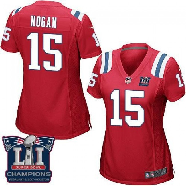 Women's Patriots #15 Chris Hogan Red Alternate Super Bowl LI Champions Stitched NFL Elite Jersey