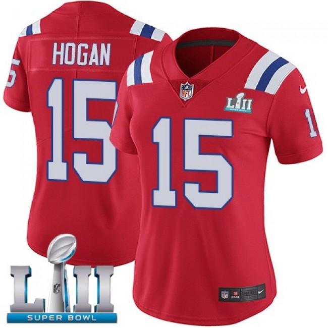 Women's Patriots #15 Chris Hogan Red Alternate Super Bowl LII Stitched NFL Vapor Untouchable Limited Jersey