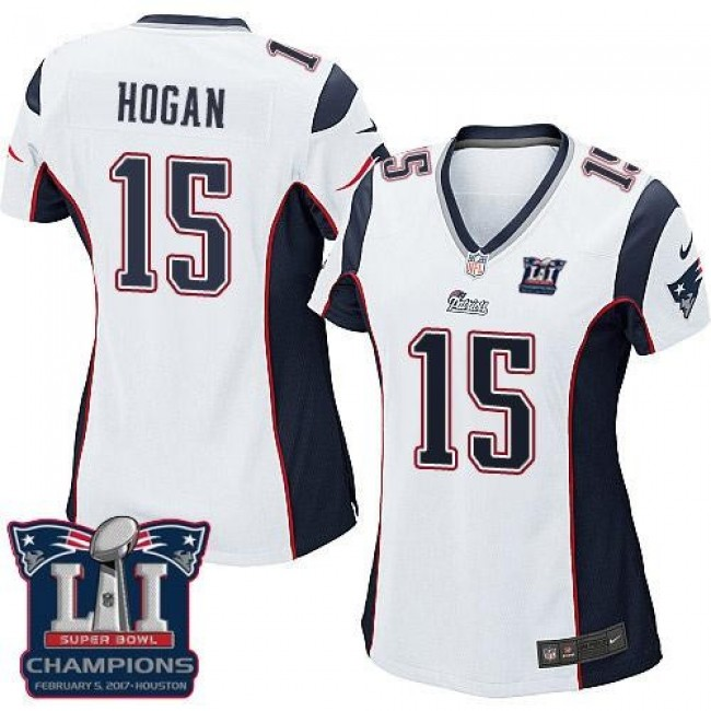 Women's Patriots #15 Chris Hogan White Super Bowl LI Champions Stitched NFL New Elite Jersey