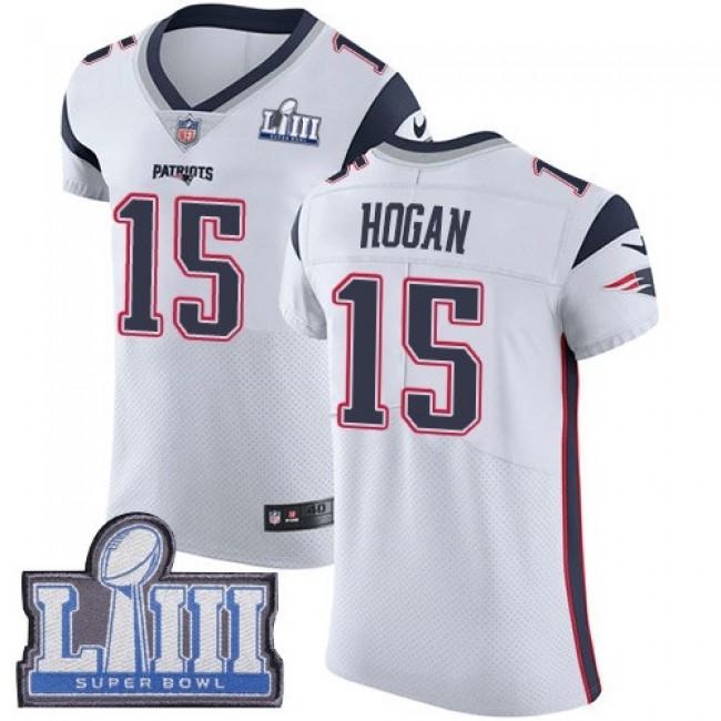 Nike Patriots #15 Chris Hogan White Super Bowl LIII Bound Men's Stitched NFL Vapor Untouchable Elite Jersey