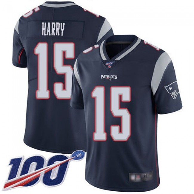 Nike Patriots #15 N'Keal Harry Navy Blue Team Color Men's Stitched NFL 100th Season Vapor Limited Jersey