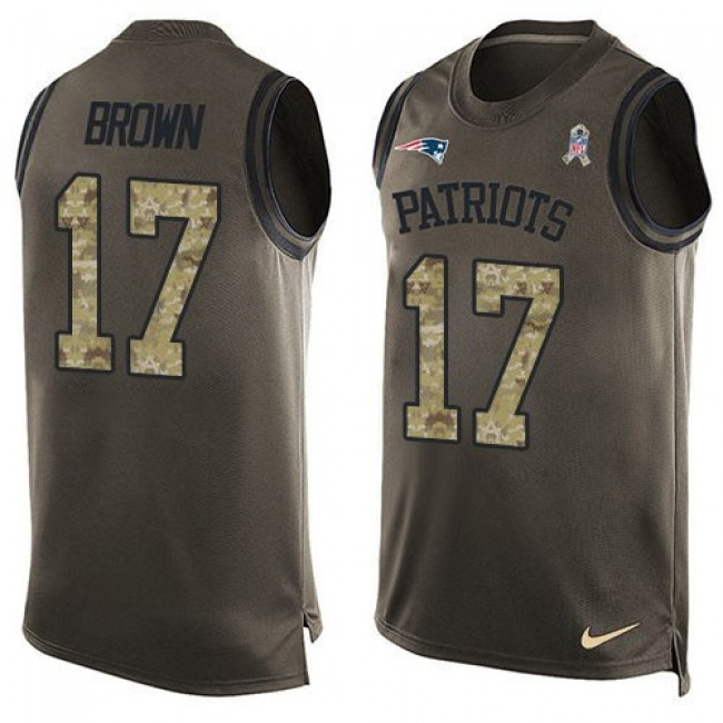 Nike Patriots #17 Antonio Brown Green Men's Stitched NFL Limited Salute To Service Tank Top Jersey