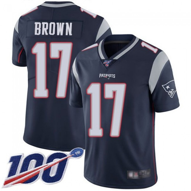 Nike Patriots #17 Antonio Brown Navy Blue Team Color Men's Stitched NFL 100th Season Vapor Limited Jersey