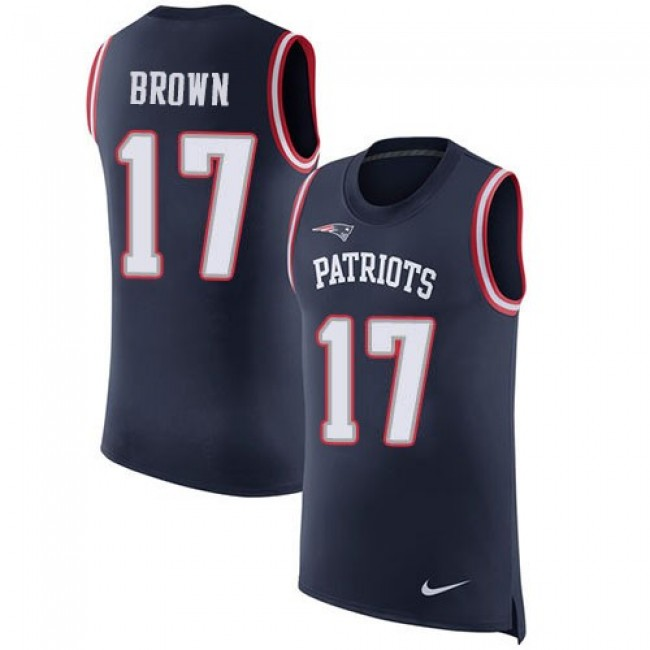 Nike Patriots #17 Antonio Brown Navy Blue Team Color Men's Stitched NFL Limited Rush Tank Top Jersey