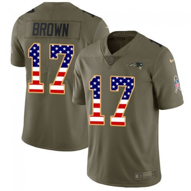 Nike Patriots #17 Antonio Brown Olive/USA Flag Men's Stitched NFL Limited 2017 Salute To Service Jersey