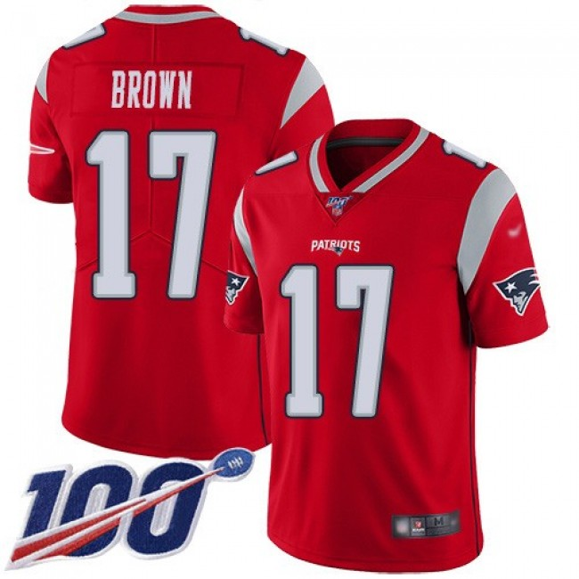 Nike Patriots #17 Antonio Brown Red Men's Stitched NFL Limited Inverted Legend 100th Season Jersey