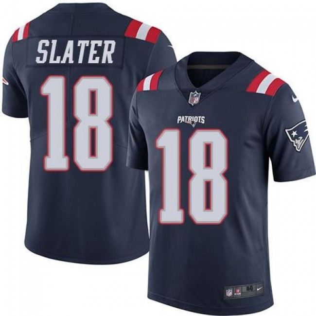 Nike Patriots #18 Matt Slater Navy Blue Men's Stitched NFL Limited Rush Jersey