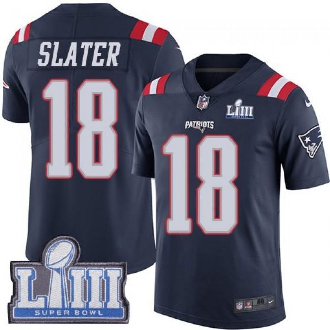 Nike Patriots #18 Matt Slater Navy Blue Super Bowl LIII Bound Men's Stitched NFL Limited Rush Jersey
