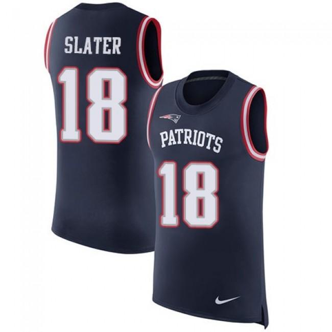 Nike Patriots #18 Matt Slater Navy Blue Team Color Men's Stitched NFL Limited Rush Tank Top Jersey