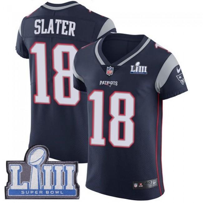 Nike Patriots #18 Matt Slater Navy Blue Team Color Super Bowl LIII Bound Men's Stitched NFL Vapor Untouchable Elite Jersey