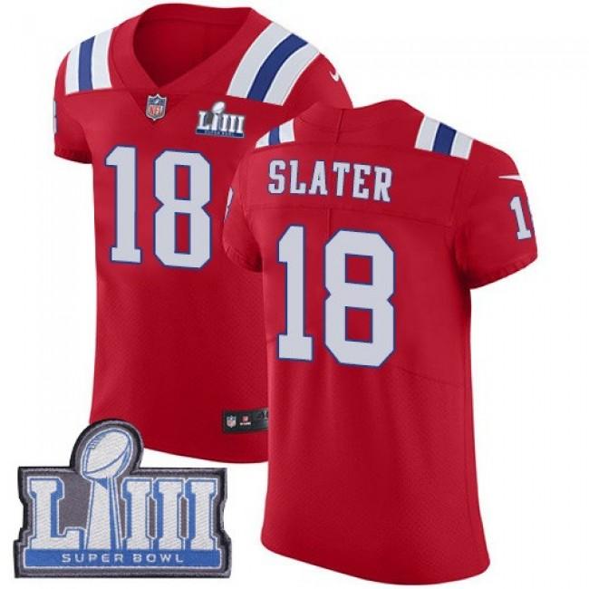 Nike Patriots #18 Matt Slater Red Alternate Super Bowl LIII Bound Men's Stitched NFL Vapor Untouchable Elite Jersey