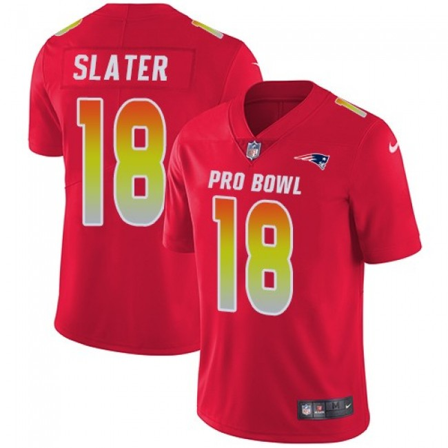 Women's Patriots #18 Matt Slater Red Stitched NFL Limited AFC 2018 Pro Bowl Jersey