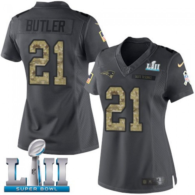 Women's Patriots #21 Malcolm Butler Black Super Bowl LII Stitched NFL Limited 2016 Salute to Service Jersey