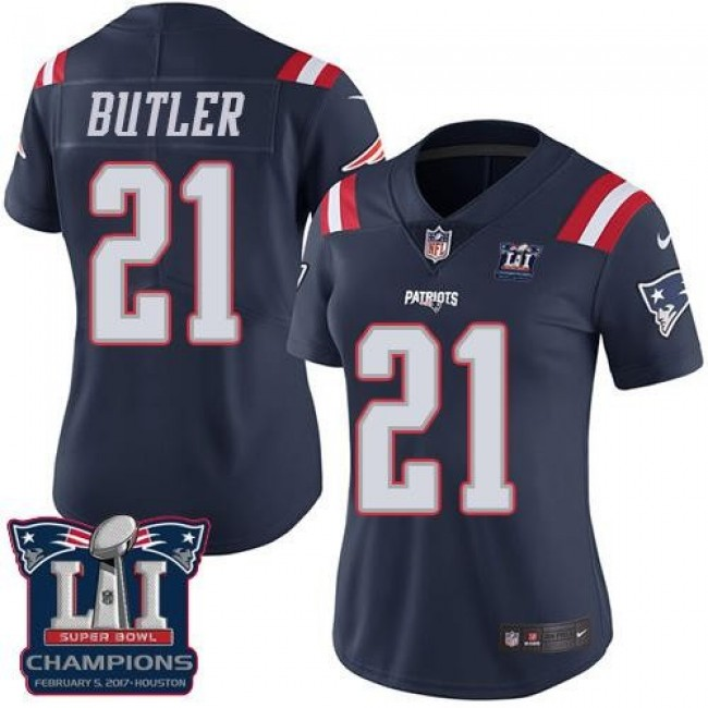 Women's Patriots #21 Malcolm Butler Navy Blue Super Bowl LI Champions Stitched NFL Limited Rush Jersey