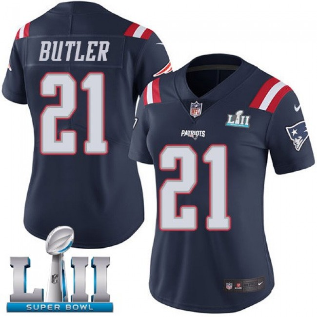 Women's Patriots #21 Malcolm Butler Navy Blue Super Bowl LII Stitched NFL Limited Rush Jersey