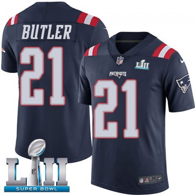 New England Patriots #21 Malcolm Butler Navy Blue Super Bowl LII Youth Stitched NFL Limited Rush Jersey