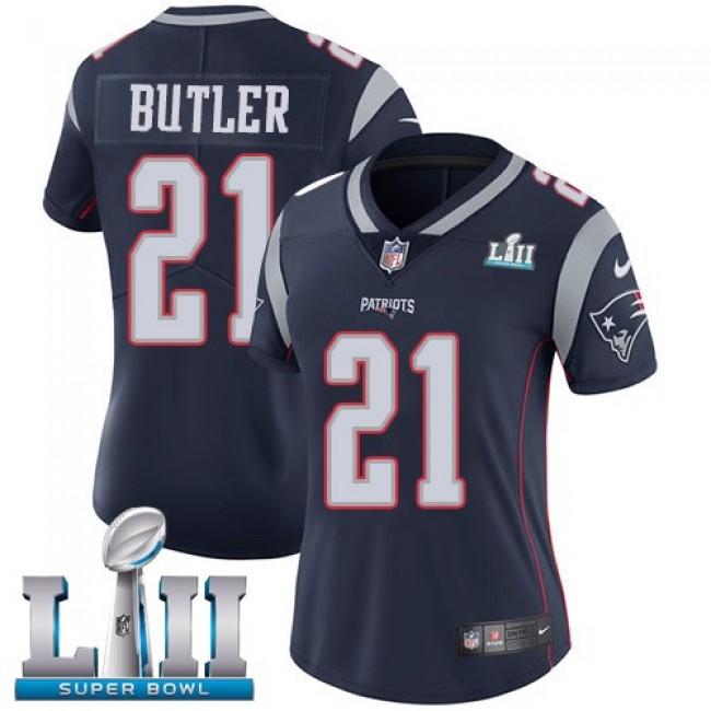 Women's Patriots #21 Malcolm Butler Navy Blue Team Color Super Bowl LII Stitched NFL Vapor Untouchable Limited Jersey