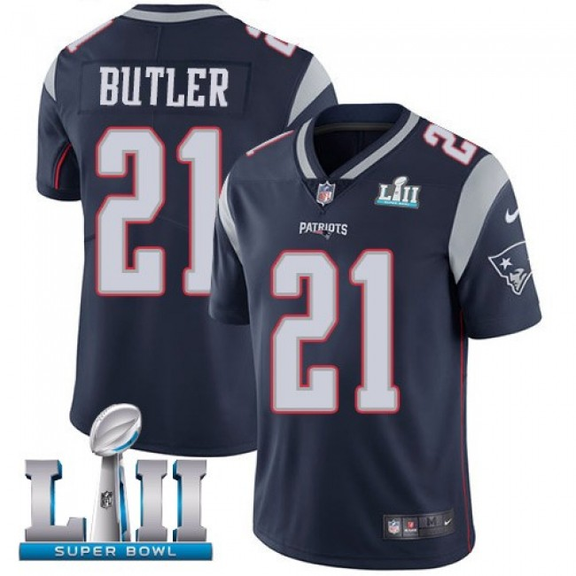 New England Patriots #21 Malcolm Butler Navy Blue Team Color Super Bowl LII Youth Stitched NFL Vapor Untouchable Limited Jersey