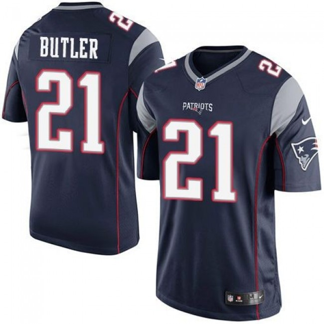 New England Patriots #21 Malcolm Butler Navy Blue Team Color Youth Stitched NFL New Elite Jersey